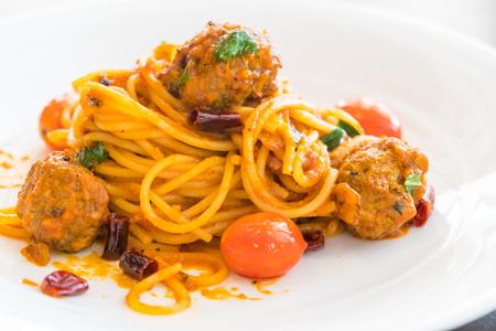 marinara sauce: Selective focus point on Spaghetti meatballs with sauce in white plate - Italian food style