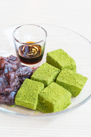 Moji green tea with red bean and sweet sauce dessert