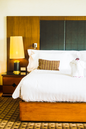 Beautiful Luxury White Pillow On Bed And Light Lamp Beside Inspiration How To Decorate Bed With Pillows