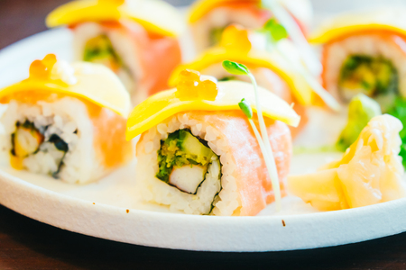 Selective focus point on Sushi - Japanese food style , Color filter Processing Stock Photo