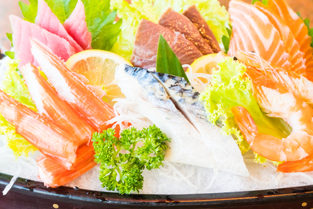 fish tail: Selective focus point on Sushi - Japanese and Healthy food style - Warm white balance color Processing