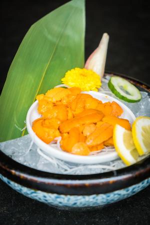 Raw and fresh Uni sashimi - Japanese food style