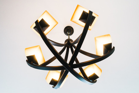 chandelier: Ceiling light lamp decoration interior of room - Vintage Filter Stock Photo
