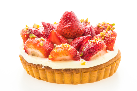 Sweet dessert with strawberry on top of tart isolated on white background