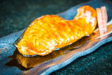 Grilled salmon steak with teriyaki sweet sauce - Japanese food style