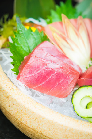 Raw and fresh tuna meat sashimi - Japanese food style Stock Photo