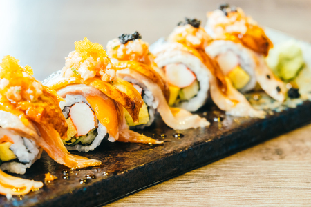 Raw and fresh sushi roll - Japanese food style Stock Photo