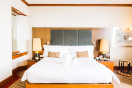 luxury apartment: Abstract blur and defocused decoration in hotel bedroom interior for background