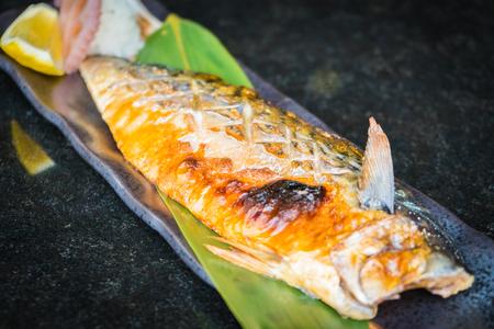 Grilled saba fish - Japanese food style Stock Photo