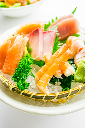 Mixed raw and fresh sashimi set with tuna salmon shrimp and other meat , Japanese food style - Color Filter Processing Stock Photo - 82356099