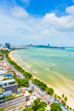 Beautiful Landscape of Pattaya city in Thailand with beach and sea on blue sky