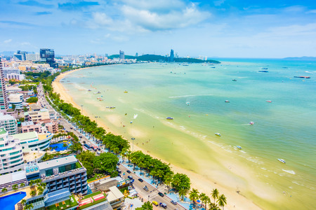 Beautiful Landscape of Pattaya city in Thailand with beach and sea on blue sky Фото со стока - 83578754