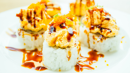 Sushi cream cheese in white plate - Japanese food style