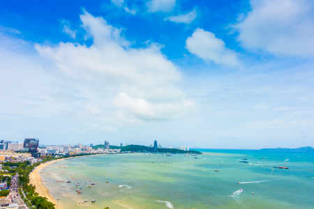 Beautiful Landscape of Pattaya city in Thailand with beach and sea on blue sky Фото со стока - 84562028