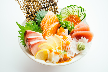 Raw and fresh mixed sashimi with salmon , tuna , hamaji and other fish - Japanese food style Stock Photo