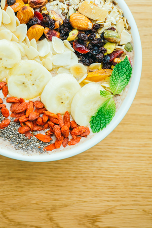 Mixed fruit with muesli and granola in bowl for breakfast - Color Filter Processing