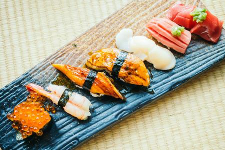 Raw and fresh nigiri sushi roll - Japanese food style