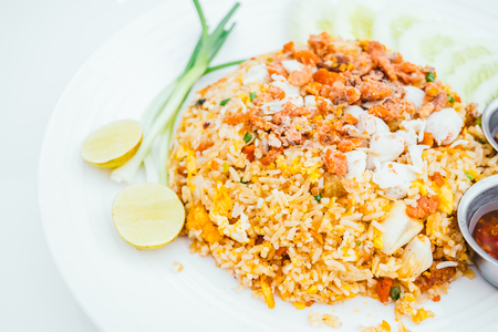 Fried rice with crab meat on top - Thai food style