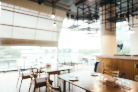 Abstract blur and defocused restaurant and cafe interior for background
