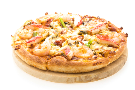 Seafood pizza on wooden tray isolated on white background - Italain and Junk food style
