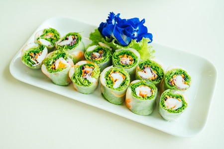 Vietnamese spring roll salad in white plate - Healthy food style