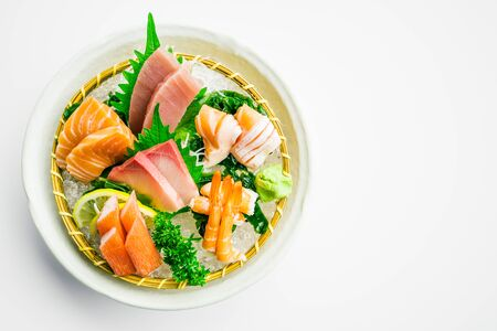 Mixed raw and fresh sashimi set with tuna salmon shrimp and other meat , Japanese food style - Color Filter Processing
