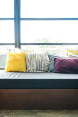 living room sofa: Pillow on sofa decoration interior of room Stock Photo