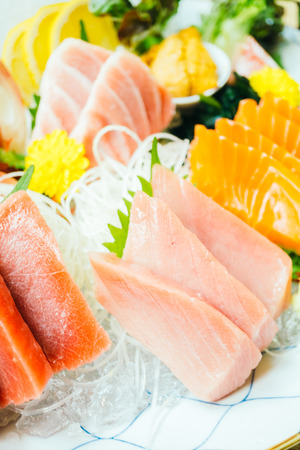 Raw and fresh sashimi fish meat - Japanese food style