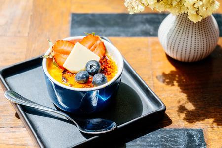 Sweet dessert with caramel cream brulee