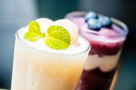 Iced drinking glass with lychee smoothies and yogurt