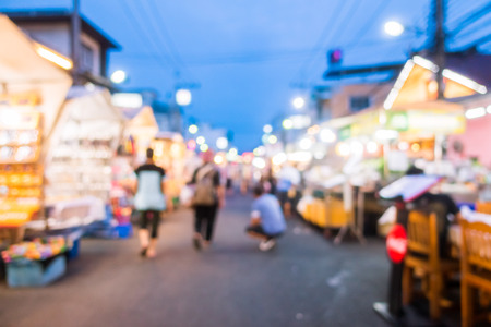 Abstract blur and defocused night local market in hua hin province in Thailand