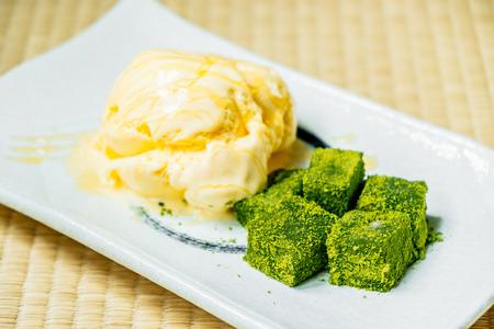 Sweet dessert Vanilla ice cream with matcha green tea mochi