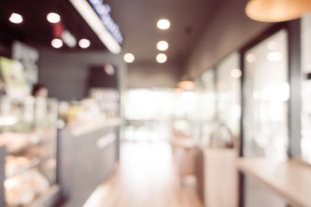 Abstract blur and defocused restaurant interior for background - Vintage light Filter