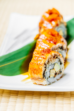 Unagi or eel fish sushi roll in white plate -Japanese food style