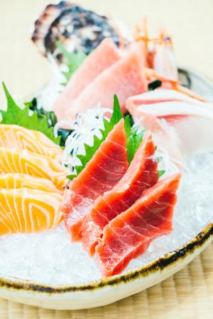 Raw and fresh salmon tuna and other sashimi fish meat - Japanese food style