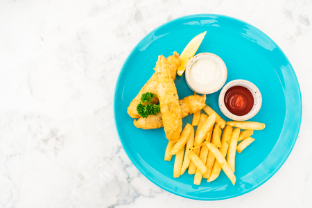 Fish and chips in plate