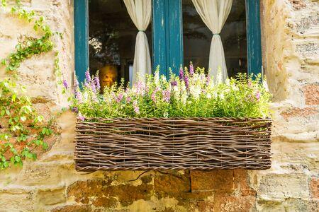Lavender flower in vase exterior of house - Vintage light Filter