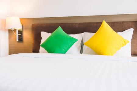 Comfort pillow on bed decoration interior of bedroom Lizenzfreie Bilder