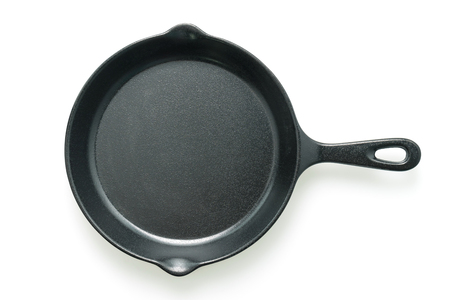 Black iron pan isolated on white background