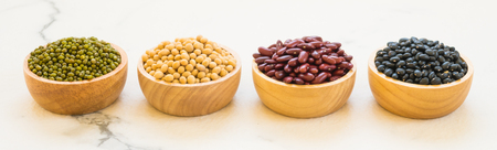 Mixed beans with kidney mung black and Soy Bean - Healthy and Nutrition food concept style Banco de Imagens