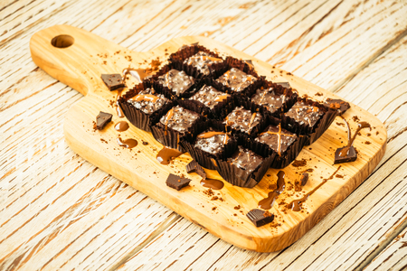 Sweet dessert with Chocolate brownies cake on wood cutting board - Filter Processing