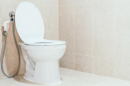 White toilet bowl and seat decoration interior