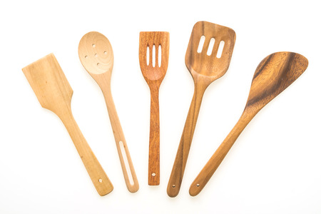 Wood utensils or kitchen ware isolated on white background