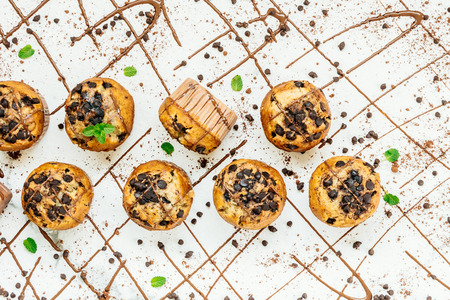 Sweet dessert with chocolate chip on stone white background
