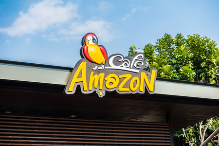 PATTAYA , THAILAND Jan 18 2018 Amazon sign and cafe franchise coffee shop in Thailand