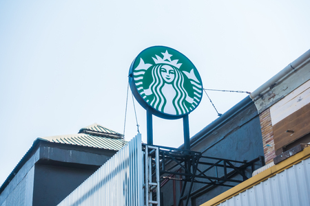 PATTAYA , THAILAND Jan 20 2018 Starbucks sign and store around motorway express. Starbuck chain of coffee shops, founded in Seattle