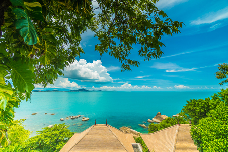 Beautiful aerial view of beach and sea with coconut palm tree in koh samui island Thailand for travel and vacation