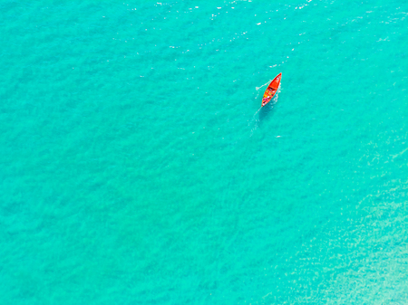 Beautiful aerial view of boat on the sea and ocean for vacation