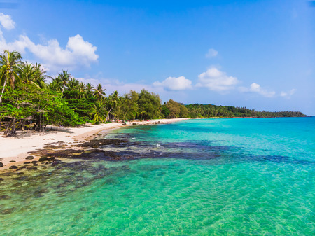 Aerial view of beautiful beach and sea with coconut palm tree on blue sky in the paradise island Stock Photo