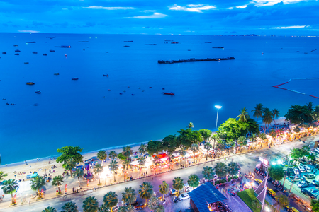 Beautiful architecture in pattaya city Thailand at night